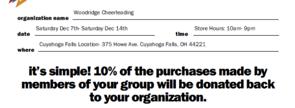 Cheer 5 Below Fundraiser